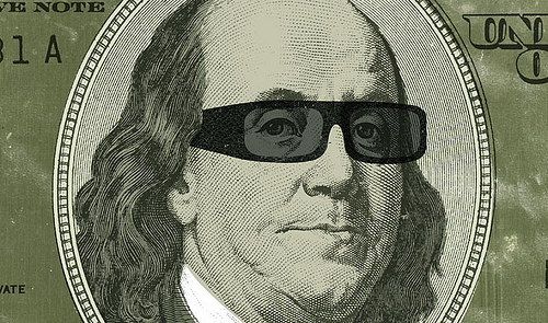 ben franklin wearing sun glasses