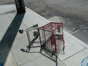 toppled grocery cart