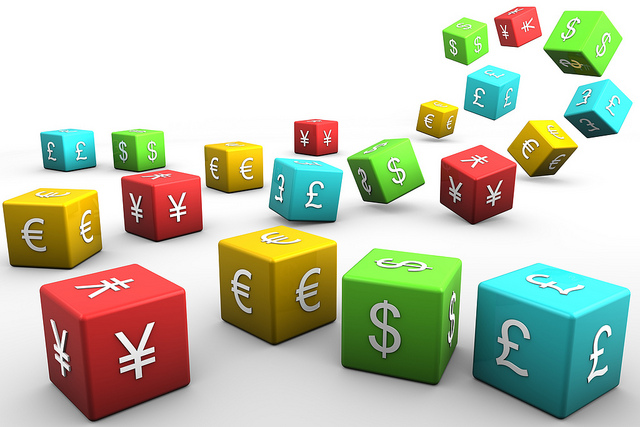 currency symbols on multi-colored blocks