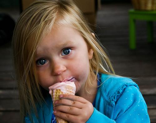 kid eating an ice cream cone