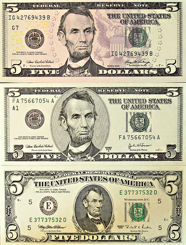 five dollar bills