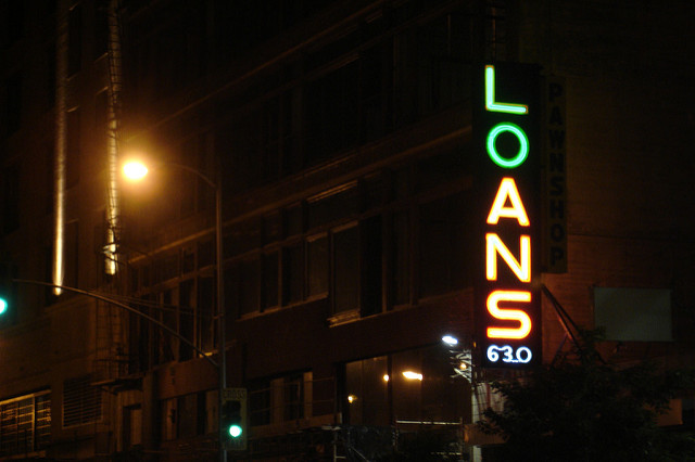 loan sign at night