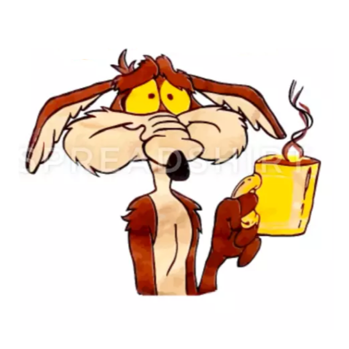 wile e coyote holding coffee cup