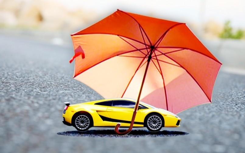 car protected by umbrella